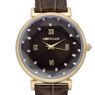Montclair Women's Aleutian Brown Leather Goldtone Stainless Steel Textured Chapter Wing Watch