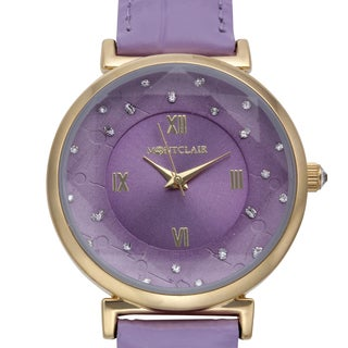 Montclair Women's Aleutian Purple Leather Stainless Steel Textured Chapter Wing Watch
