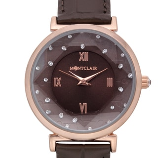 Montclair Women's Aleutian Brown Leather Rosetone Stainless Steel Textured Chapter Wing Watch