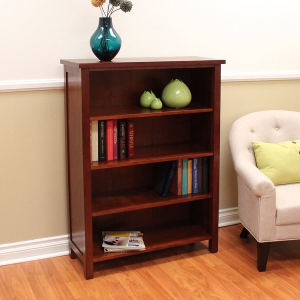 Shop Oakdale Cherry 4 Shelf Bookcase Free Shipping Today Overstock 11452151