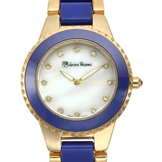 Lucien Pezzoni Women's Sacra Gold-tone Blue Mother of Pearl Watch
