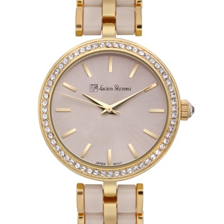 Lucien Pezzoni Women's Aurelio Sforza Two-tone Beige Hand-set Crystal Radiant Dial Watch