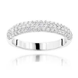 Luxurman 14k Gold 1ct TDW Thin Diamond 3-row Ring (H-I, SI1-SI2)