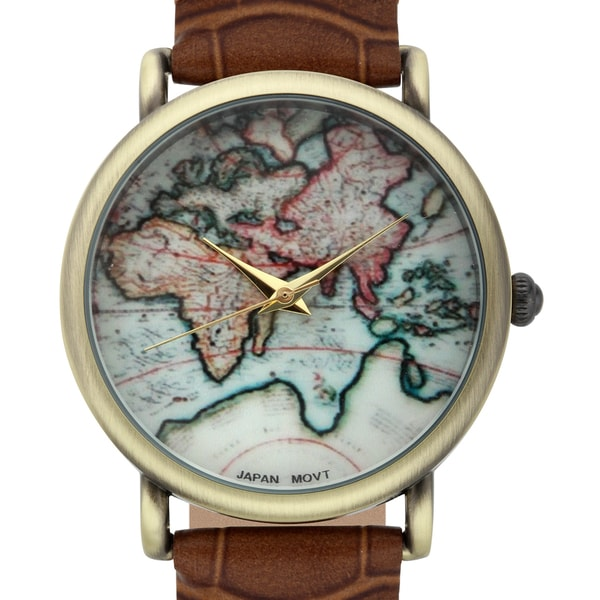 Shop Jeanneret Women\'s Indira Map Dial Watch with Brown Leather ...