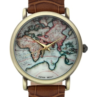 Jeanneret Women's Indira Map Dial Watch with Brown Leather Strap