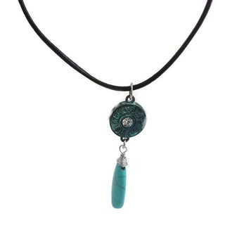 Mama Designs Handmade Black Leather Faux Turquoise Necklace