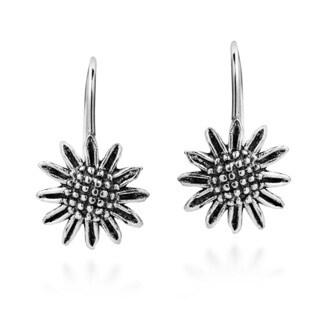 Handmade Brazen Beauty Sunflower .925 Silver Hook Dangle Earrings (Thailand)