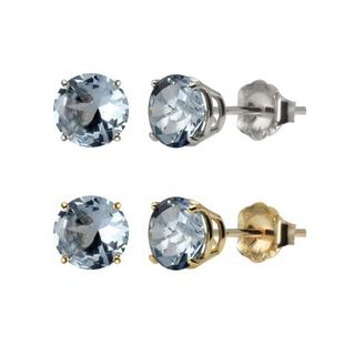 10k White or Yellow Gold 6mm Round Lab-created Aquamarine Stud Earrings