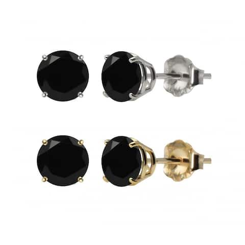 10k White or Yellow Gold 6mm Round Black Onyx Stud Earrings