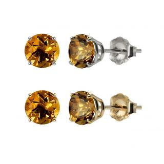 10k White or Yellow Gold 6mm Round Citrine Stud Earrings