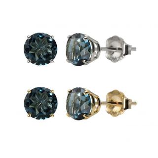 10k White or Yellow Gold 6mm Round London Blue Topaz Stud Earrings
