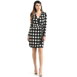 JED Women's Long Sleeve Printed Wrap Dress
