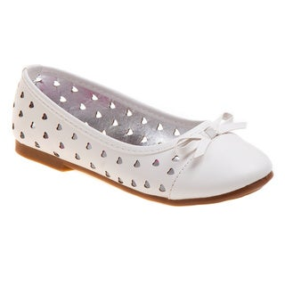 Rugged Bear Girls' White Heart Cut-out Ballerina Flats