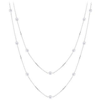 Luxurman 14k Gold Chain With 1 1/2ct TDW Diamonds by the Yard Necklace (H-I, SI1-SI2)