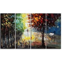 Hand-painted Landscape Forest Colors of Nature - 48x28 - 4 Panels