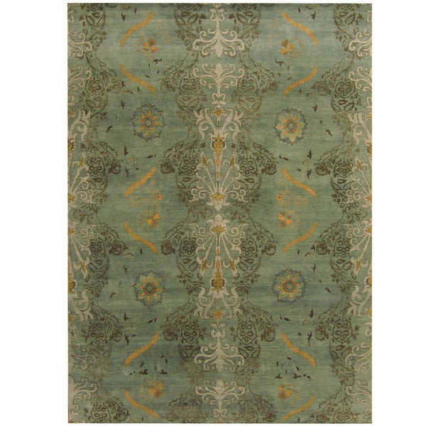 Handmade Herat Oriental Indo Tribal Aubusson Wool Rug - 8'6 x 11'9 (India)
