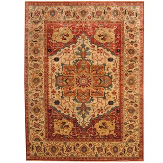 Herat Oriental Indo Hand-knotted Tribal Serapi Rug (9' x 12')