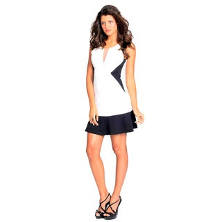 Sara Boo White/ Black Color Block Side Dress