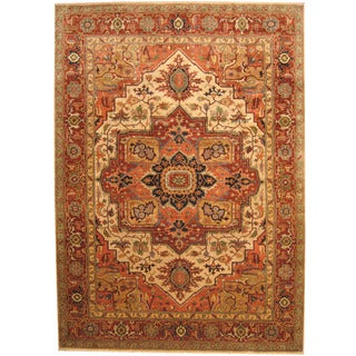 Herat Oriental Indo Hand-knotted Tribal Serapi Wool Rug (10' x 14')