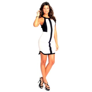 Sara Boo White/ Black Color Block Sheath Dress