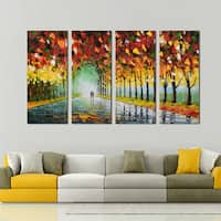 Design Art Hand-painted 'Walk with Me Through The Forest Arc' 48-inch x 28-inch Multipanel Oil Painting