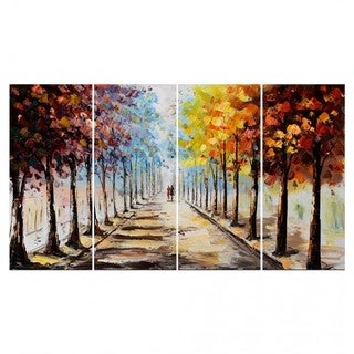 Hand-painted Landscape Forest 'Lets Go For A Stroll' 4-panel Canvas Artwork