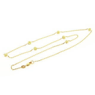 Luxurman 14k Gold 3/4ct TDW Yellow Diamond Chain Necklace (H-I, SI1-SI2)