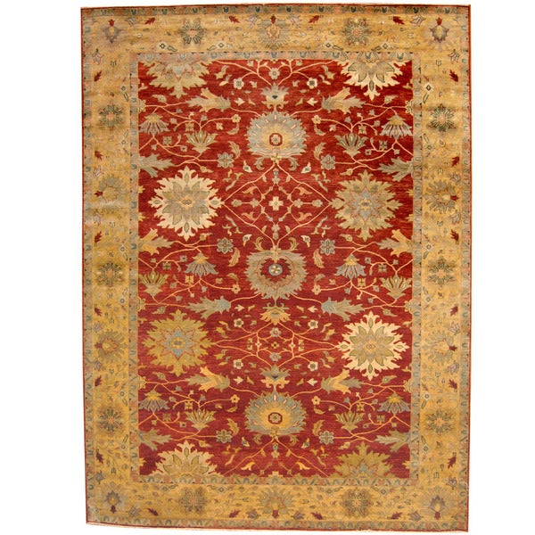 Handmade Herat Oriental Indo Tribal Oushak Wool Rug - 10' x 14' (India)