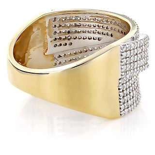 Luxurman 14k Gold 7/8ct TDW Pave Diamond Wedding Band