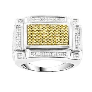 Luxurman 14k White Gold 1 1/2ct TDW Men's White Yellow Diamond Ring