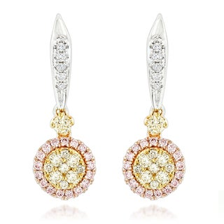 Luxurman 14k Three-tone Gold 7/8ct TDW Diamond Drop Earrings (H-I, SI1-SI2)