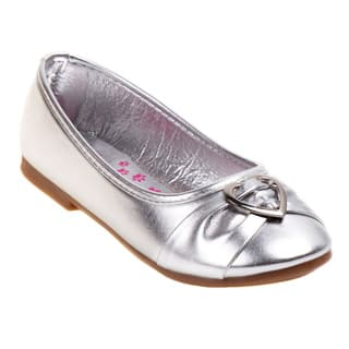 Rugged Bear Girls' Silver Heart Buckle Ballerina Flats|https://ak1.ostkcdn.com/images/products/11452398/P18411045.jpg?impolicy=medium