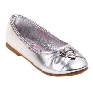 Rugged Bear Girls' Silver Heart Buckle Ballerina Flats