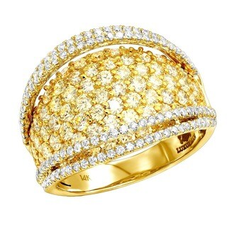 Luxurman 14k Gold 3ct TDW White and Yellow Diamond Cocktail Ring