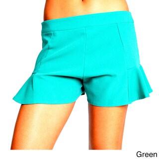 Sara Boo Solid Black Flare Shorts