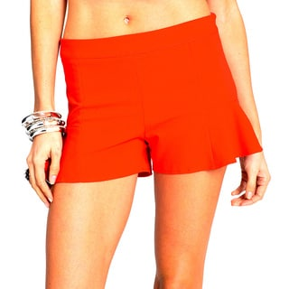 Sara Boo Solid Red Flare Shorts
