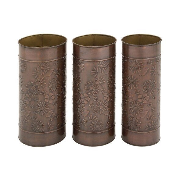 Copper Grove Seymour Floral Themed Umbrella Stands (Set of 3)