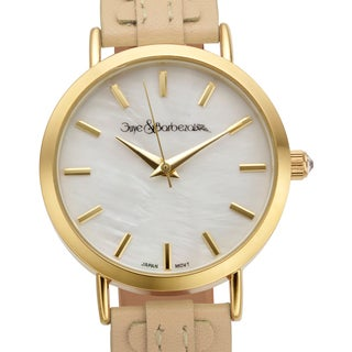 Guye and Barbezat Women's Aare Beige Genuine Leather Mother of Pearl Watch