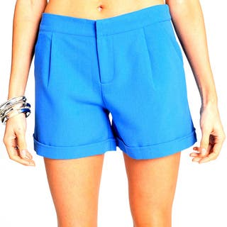 Sara Boo Solid Cuffed Shorts|https://ak1.ostkcdn.com/images/products/11452440/P18411029.jpg?impolicy=medium