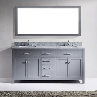 Virtu USA Caroline 72-inch Grey Double Bathroom Vanity Cabinet Set