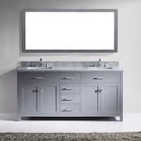 Virtu USA Caroline 72-inch Carrara White Marble Double White Marble Bathroom Vanity Cabinet Set