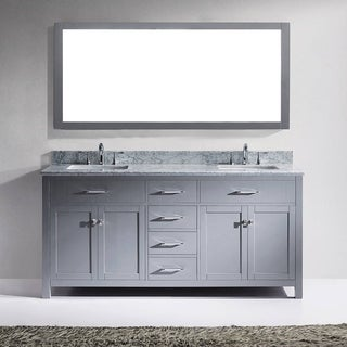 Virtu USA Caroline 72-inch Carrara White Marble Double White Marble Bathroom Vanity Cabinet Set