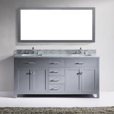 Virtu USA Caroline 72-inch Double White Marble Bathroom Vanity Cabinet Set