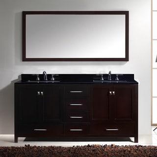 Virtu USA Caroline Avenue 72-inch Espresso Double Bathroom Vanity Cabinet Set