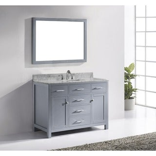 Virtu USA Caroline 48-inch Grey Bathroom Vanity Cabinet in Grey