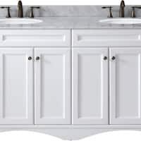 Talisa 72-inch Carrara White Marble Double Bathroom Vanity No Mirror