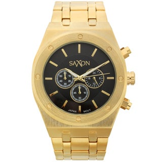 Saxon Men's Wuldor Goldtone Black Dial Multi-function Watch