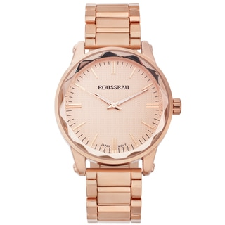 Rousseau Men's Nageli Rose-tone Diamond Pattern Textured Dial Watch
