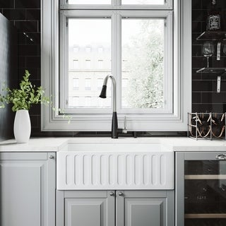 VIGO 30-inch Matte Stone Kitchen Sink and Milburn Faucet Set