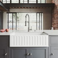 VIGO 33-inch Matte Stone Farmhouse Sink and Edison Faucet Set